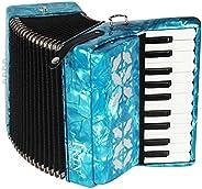 Dilwe Acordeón de Piano, Madera de Arce 22 Teclado 8 Bajo Acordeón Instrumento Musical Juguete con Correas Gua