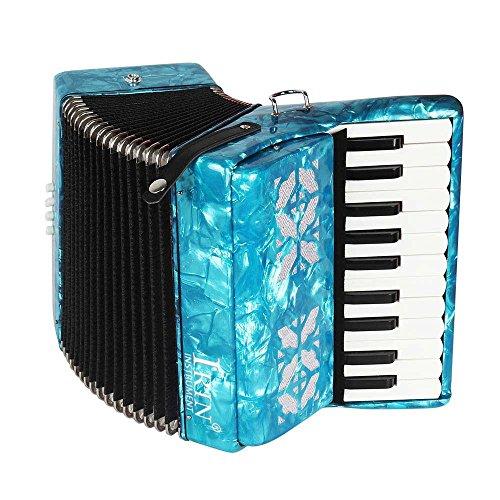 Tbest Akkordeon Kinder 22-Key 8 Bass Piano Akkordeon, Pädagogisches Musikinstrument Akkordeon mit 1 Paar Handschuhen und 1 Stück Reinigungstuch und 1 Paar Riemen für Anfänger(Blau)