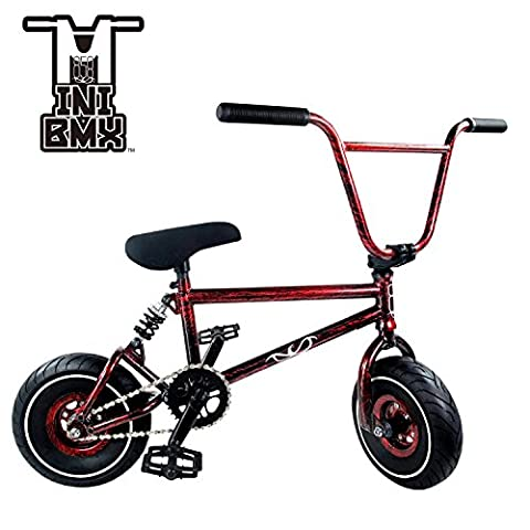 Mini BMX Freestyle Bike – Light Fat Tires With 3pce Crank & Spring Accessories For Pro To Beginner – These Bad Boy Bicycles Are Great For Stunt Trick & Racing (Red Splash) By RIDE