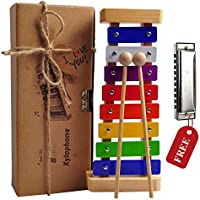 Xylophone Kids - Best Holiday/Birthday DIY Gift Idea Your Mini Musicians - Musical Toy Child Safe Mallets - Perfectly Tuned Instrument Toddlers - Musical Cards Harmonica Included