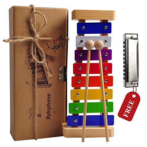 Holz Xylophon für Kinder - mit Mundharmonika und Lieder Buch: Perfekt Glockenspiel f. Kleine Musiker - Erzeugt Magische…