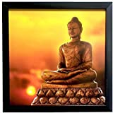 Paper Plane Design Exclusive Framed Wall Art Paintings Showing Buddha Meditating On Lotous Flower For Living Room Bedroom And Decoration Purpose Frame Size (12 Inch X 12 Inch, (Synthetic, 30 Cm X 3 Cm X 30 Cm, Special Effect Textured)