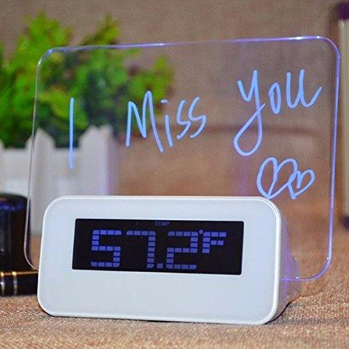 Baban Elektronische Uhr Wecker Blau LEDLicht + 4USB 2.0 DC4.5V 1A mit USB Kabel + Nachricht Pen Deko Geschenk