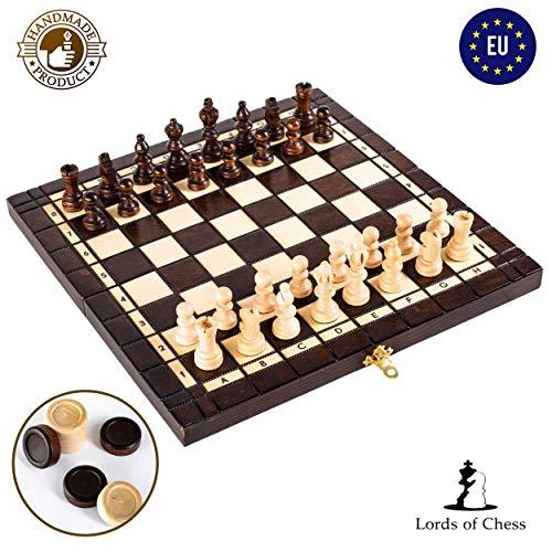 Amazinggirl Schachspiel groß Schach Holz Schachbrett - 2 in 1 Dame Chess Set für Kinder hochwertig klappbar mit Figuren Antik 48 cm