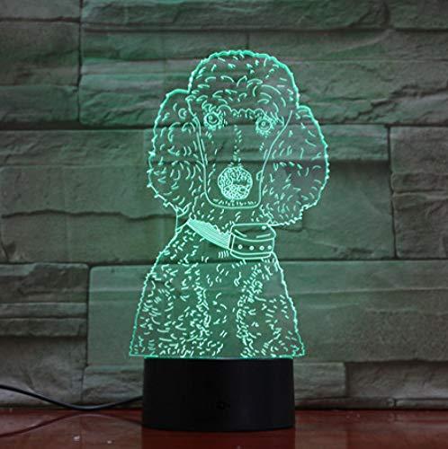 Joplc Pudel 3D Kinderlampe LED USB Nachtlichter 3D Hund LED Beleuchtung