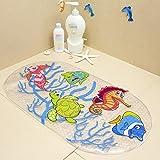 feidol rutschfeste Baby Badematte mit Saugnäpfen für Wanne, Dusche, schimmelresistent, natur PVC, 68,6x 38,1cm Cute Muster Design, Badewanne Matte für Kinder
