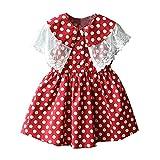 Livoral Mädchen Prinzessin Kleid Kind Baby Kind Spitze Patchwork Print Freizeitkleidung(Rot,100)
