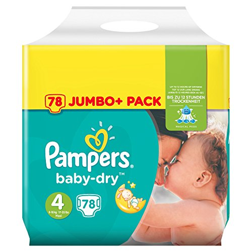 Pampers Baby-Dry Windeln Gr. 4 (8-16 kg), Jumbo Plus Pack, 1er Pack (1 x 78 Stück)