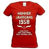 Damen Kurzarm Jahreszahl T-Shirt :-: Geburtstagsgeschenk Geschenkidee für Frauen zum 60. Geburtstag :-: Hammer Jahrgang 1958 :-: Farbe: rot Gr: M