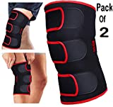 #3: DURAFIT - KNEE BRACE - (Pack of 2) -Red Line NEOPRENE Knee Support - Open Patella with Adjustable stretchy hook and loop closure - Anatomically tailored Pads Surrounds the Knee cap -with Adjustable Strapping - Lightweight - Breathable - Non-Slip -Soft - Strong - Washable - Comfort Fit Knee Brace - Best For Arthritis, Sports, Exercise and Running - Men & Women Braces - Maximum support & more Natural movement