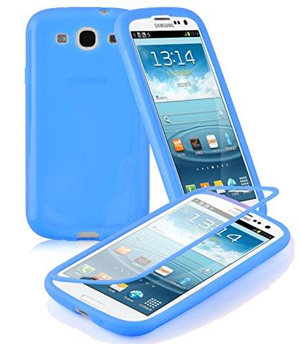 Preisvergleich Produktbild Cadorabo - TPU Silikon Schutzhülle (Full Body Rund-um-Schutz auch für Das Display) für > Samsung Galaxy S3 / S3 NEO < - (I9300) in Alkali-BLAU
