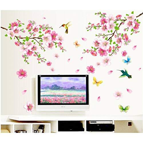 HIJKN Wandaufkleber heißer Sakura Blumen wandaufkleber tv Hintergrund raumdekorationenabziehbilder entfernbares wandbild Kunstdruck Poster (Paar Raumdekorationen)