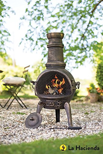 (free cover) La Hacienda Bronze Sierra 100% Cast Iron 95cm Chiminea + BBQ Grill