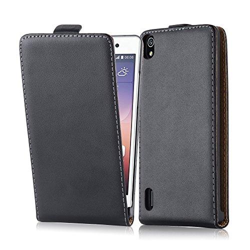 Cadorabo Hülle für Huawei P7 - Hülle in KAVIAR SCHWARZ – Handyhülle aus glattem Kunstleder im Flip Design - Case Cover Schutzhülle Etui Tasche