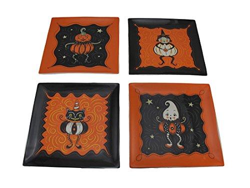 �ck Set von Vintage Style Halloween Keramik Teller (Halloween Schwarze Katze Vintage)