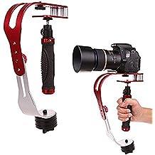Caméra de poche Stabilisateur, CAM-ULATA Pro Handheld Grip Poignée de main caméra vidéo Steadycam Stabilisateur support stable pour l'appareil photo reflex numérique Smartphone GoPro Canon Nikon Sony Pentax et d'autres numérique DV DC Camcorder jusqu'à 2.1 lbs, Rouge