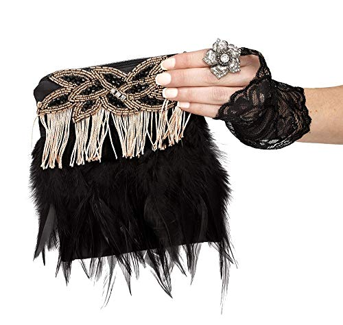 Flapper 20er Jahre Girl Kostüm - shoperama Charleston Flapper Handtasche Federn Fransen Perlen schwarz Kostüm-Zubehör 20er Jahre Damen-Tasche The Roaring Twenties 20's Gatsby Girl, Farbe:Gold