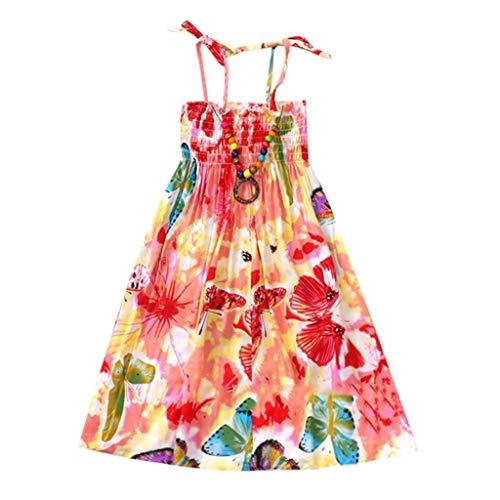 JUTOO Säuglingskindermädchenbaby-Kleidungs-Nationale Art mit Blumenböhmisches Strandgurt-Kleid (Rosa,150)