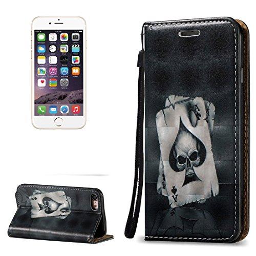 iPhone Case Cover Pour iPhone 6 Plus & 6s Plus 3D Relief Skull Pattern Housse en cuir horizontale Flip avec porte-cartes & Slots & Lanyard ( SKU : Ip6p0621c ) Ip6p0621d
