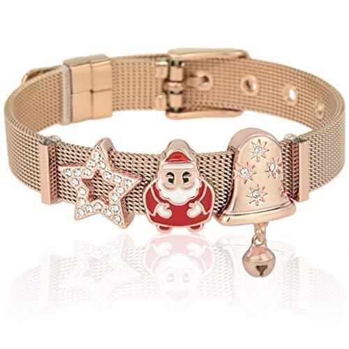 SUNIANA - Mesh Armband Set mit Charms ||Santa|| individuell erweiterbar (Rosegold)