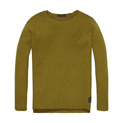 Scotch & Soda Herren Pullover Crewneck Soft Wool Pullover 139800 Lizard Green XXL (Pullover Green Wool)