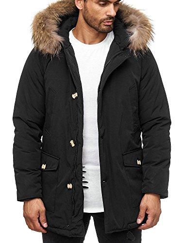 Jungen-brown-leder-jacke (Husaria warme Winter Herren Jacke mit Fell und Kapuze AK923 Kapuzenjacke (XL, Schwarz))