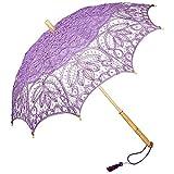 VON LILIENFELD Spitzenschirm Damen Sonnenschirm Brautschirm Hochzeitsschirm Vivienne Battenburg Spitze langer Stock aus Holz verspielte Troddelquaste violett