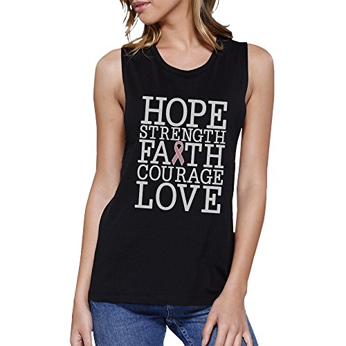 365 Printing Pull sans Manche - sans Manche - Femme Taille Unique Hope Strength Faith Love Breast Cancer