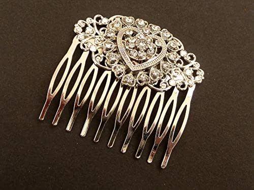 Pettine per capelli a cuore con cristalli trasparenti in colore argento
