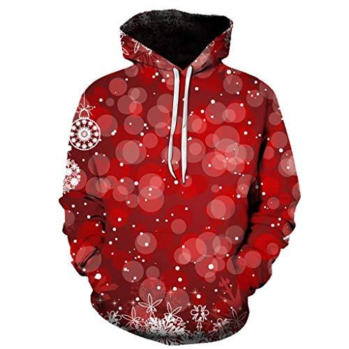 Lilicat uomo christmas 3d stampato girocollo confortevole pullover natale ragazzo sportiva maglione allentata sweatshirt natale tee shirt manica lunga felpe(f rosso,4xl)