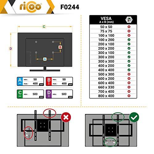 RICOO F0244 Support TV Mural fixé Meuble de téléviseur suspendu non orientable PC Plasma Smart OLED incurvé fixation murale télé LED LCD 3D 4K VESA 400x400 universel toutes marques de televiseur