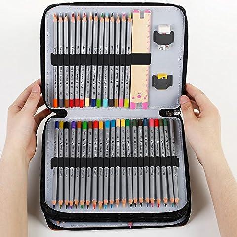 Zilong 124 Slots Leder Bleistift Case, Federtasche, Federmäppchen, Farbstift Box für Buntstift, Bleistifte, Spitzer, (Eraser Di Matita)
