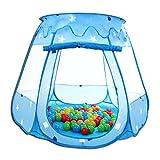 HSM Spielhaus mit 100 Bällen Pop Up Kinderzelt Baby Spielzelt mit 5 Fenstern Bällebad Blau