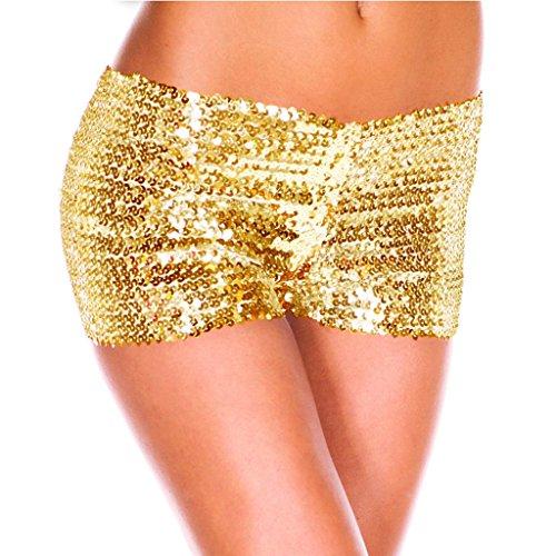 ten Shorts Elastische Shorty reizvolle Glitzer Party Tanz Kurz Hosen Club Tanz Kostüm Gold One Size (Gold Tanz Kostüm)