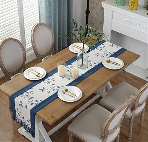 TTQIAOHUA Tischläufer Quaste Tisch Couchtisch Tv Schrank Bett Schwanz Handtuch Baumwolle Leinen Kunst 38X180 cm Blau