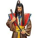Chinesenbart Samurai Bart Chinese Schnurrbart und Spitzbart Asiatischer Krieger Japaner Kinnbart und Oberlippenbart Dschinghis Khan Mongole Faschingsbart und Schnauzbart Asia Party Kunstbart mit Schnauzer Herrenbart Karneval Kostüm Zubehör