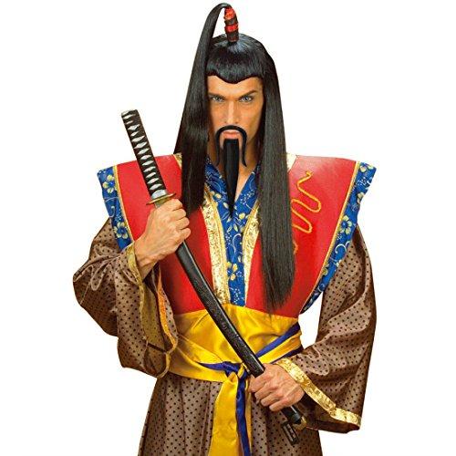 Kostüm Schnurrbart Spitzbart - Chinesenbart Samurai Bart Chinese Schnurrbart und Spitzbart Asiatischer Krieger Japaner Kinnbart und Oberlippenbart Dschinghis Khan Mongole Faschingsbart und Schnauzbart Asia Party Kunstbart mit Schnauzer Herrenbart Karneval Kostüm Zubehör