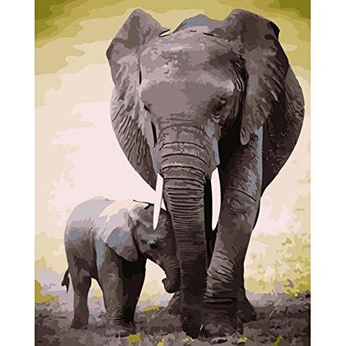 Diy oil painting, madre elefante e elefantino digitale pittura ad olio per adulti e bambini principianti di numero kit, senza cornice, 40,6x 50,8cm