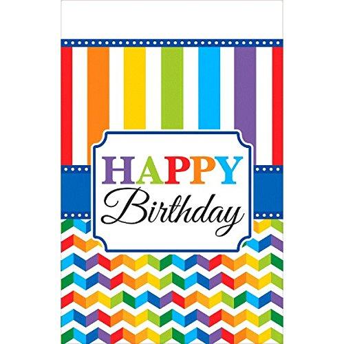 Amscan Bright Birthday Plastic Table Cover, Multicolored, 54