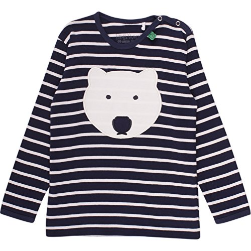 Fred's World by Green Cotton Unisex Baby T-Shirt Bear Stripe T Baby, Blau (Navy/Cream 019800002), 74 (Shirt Bar Stripe)