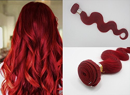 Romantic Angels® Tissage Bresiliens Ondules Body Waves-Cheveux Vierges 40cm 100g/Bundle, Rouge