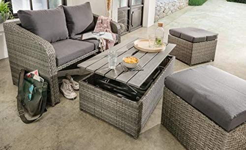 Destiny Lounge Jersey II Grau Gartenmöbelset Loungeset 4teilig Sitzgruppe Polyrattan - Bank-hocker-set
