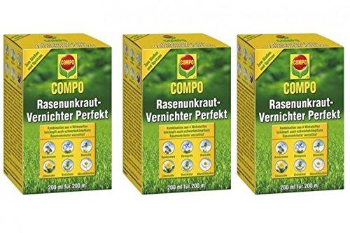 COMPO Rasenunkraut-Vernichter Perfekt 600 ml - flüssiges Rasenherbizid-Konzentrat, gegen zweikeimblättrige Unkräuter im Rasen, 200 ml für 200 m²