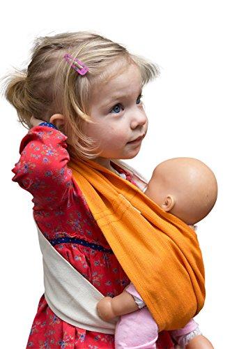 Puppentuch * für Puppenmütter und Teddy-Daddys * zum Tragen von Puppen und Plüschtieren (1, Mandarine)