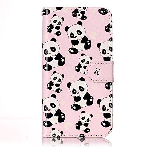Coque Diamant Bling Housse iPhone 7 Plus Wallet Case, Sunroyal Purse Cover de Téléphone Protection Portefeuille Universelle Flip en PU Cuir en Relief Embossed Coque avec et Cartes Slots Absorption de  Panda
