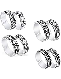 Yellow Chimes Silver Oxidized 4 Pairs Combo German Silver Toe Ring for Women and Girls