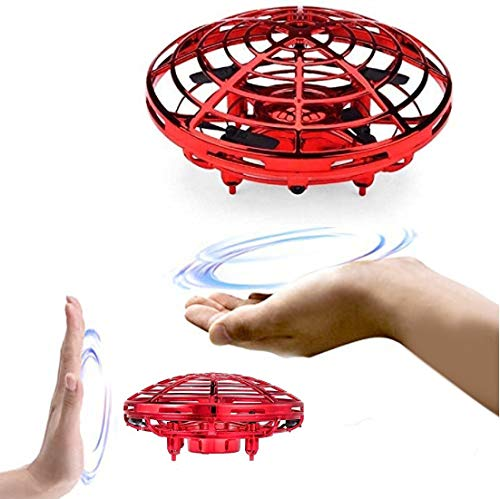 HALO NATION UFO Drone Hand Control with Flashing Light and USB Charger - Hand Sensor Drone Helicopter (Red)