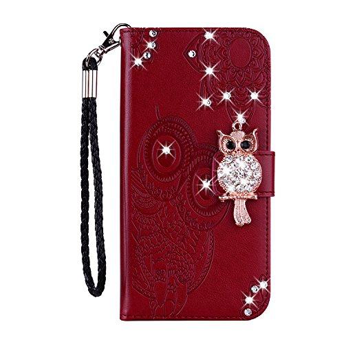 Karomenic PU Leder Hülle kompatibel mit iPhone 6 Plus/6S Plus Eule Glänzend Glitzer Handyhülle Brieftasche Bling Diamant Silikon Schutzhülle Klapphülle Magnet Ledertasche Flip Case Etui,Braun rot