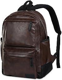 Vbiger Sac à dos en cuir Vintage Vintage Sac à dos pour ordinateur portable Sac à dos scolaire pour homme