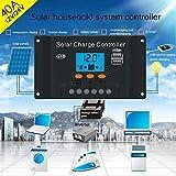 Fuibo Solar Ladegerät Controller, 10/20/30/40/50/60A Solarpanel Controller Batterie Laderegler 12 V / 24 V Auto Mit Dual (50A) (40A)